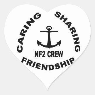 Logotipo de NF2Crew en negro Pegatina En Forma De Corazón