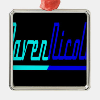 Logotipo de Nicole del cuervo Adorno Navideño Cuadrado De Metal