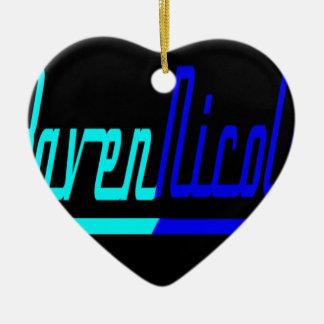 Logotipo de Nicole del cuervo Adorno Navideño De Cerámica En Forma De Corazón