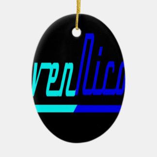 Logotipo de Nicole del cuervo Adorno Navideño Ovalado De Cerámica