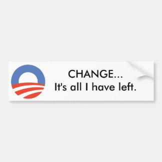 Logotipo de Obama, CAMBIO… es todo lo que he dejad Pegatina Para Auto