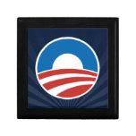 Logotipo de Obama-o con el azul Cajas De Recuerdo