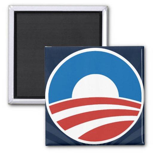 Logotipo de Obama-o con el azul Imán De Nevera