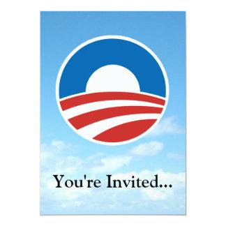 """Logotipo de Obama-o con el azul Invitación 5"""" X 7"""""""