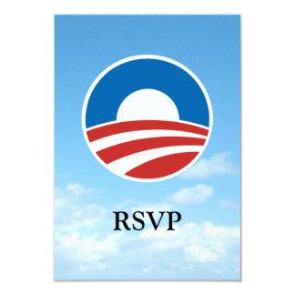 """Logotipo de Obama-o con el azul Invitación 3.5"""" X 5"""""""