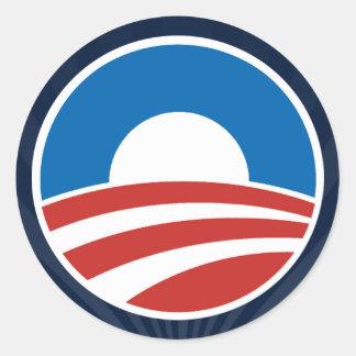 Logotipo de Obama-o con el azul Pegatina Redonda
