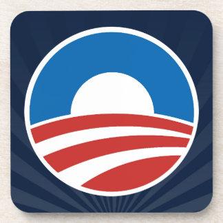 Logotipo de Obama-o con el azul Posavasos De Bebida