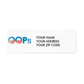 Logotipo de Obama Oops Etiqueta De Remite