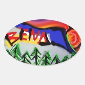 Logotipo de Oregon de la curva Pegatina Ovalada