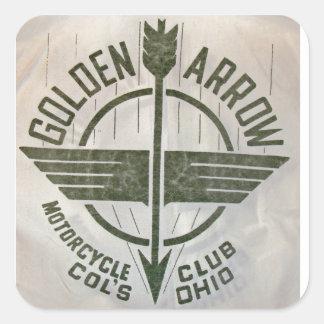 Logotipo de oro de la motocicleta de la flecha del pegatina cuadrada