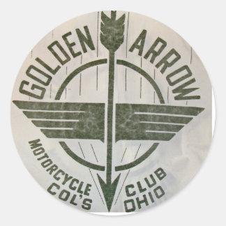 Logotipo de oro del club de la motocicleta de la pegatina redonda