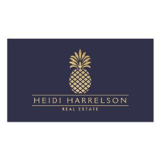 Logotipo de oro elegante de la piña en azul oscuro tarjetas de visita