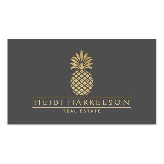 Logotipo de oro elegante de la piña en gris tarjetas de visita