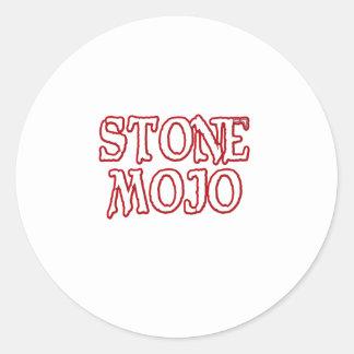 Logotipo de piedra oficial básico de Mojo Pegatina Redonda