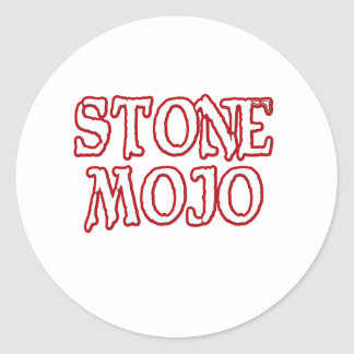 Logotipo de piedra oficial básico de Mojo Etiquetas Redondas