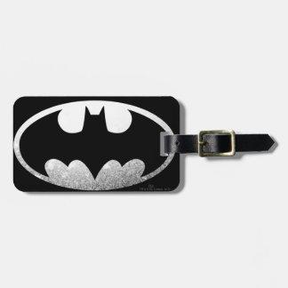 Logotipo de plata granoso de Batman Etiquetas De Equipaje