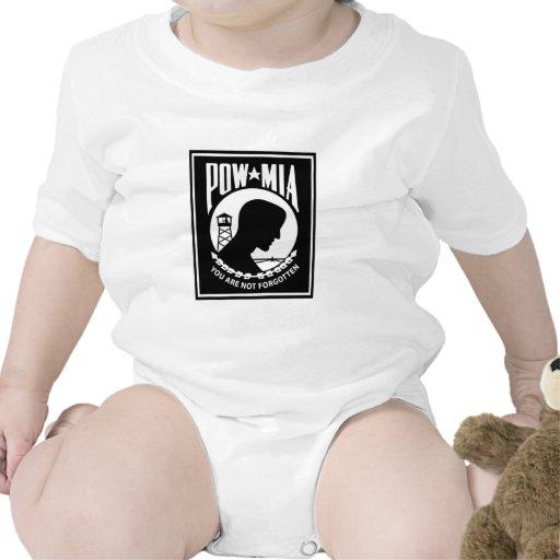 Logotipo de POW/MIA - rectángulo Trajes De Bebé