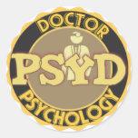 LOGOTIPO de PsyD - el DOCTOR OF PSYCHOLOGY Pegatina Redonda