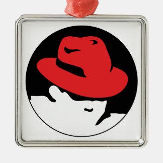 Logotipo de Red Hat Linux Adorno Navideño Cuadrado De Metal