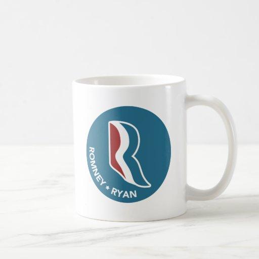 Logotipo de Romney Ryan R redondo (azul) Taza Básica Blanca
