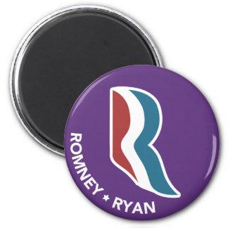 Logotipo de Romney Ryan R redondo (púrpura) Imán Redondo 5 Cm