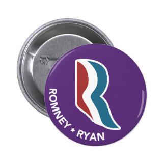 Logotipo de Romney Ryan R redondo (púrpura) Pin Redondo De 2 Pulgadas