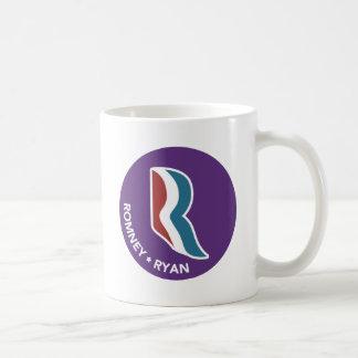 Logotipo de Romney Ryan R redondo (púrpura) Taza Clásica