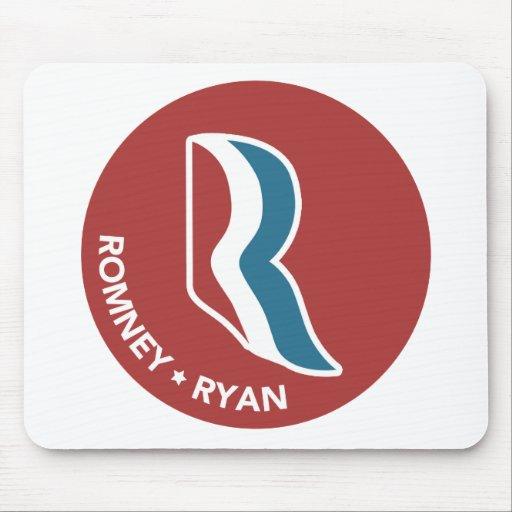 Logotipo de Romney Ryan R redondo (rojo) Alfombrillas De Ratón