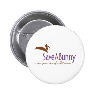 Logotipo de SaveABunny Pin Redondo De 2 Pulgadas
