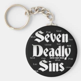 Logotipo de siete pecados mortales llavero redondo tipo pin
