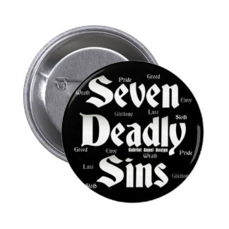 Logotipo de siete pecados mortales pin redondo de 2 pulgadas