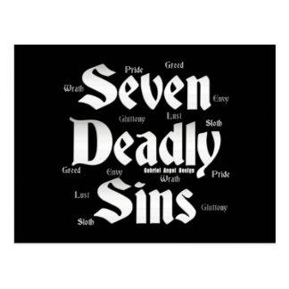 Logotipo de siete pecados mortales postal