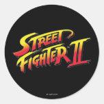 Logotipo de Street Fighter II Pegatina Redonda