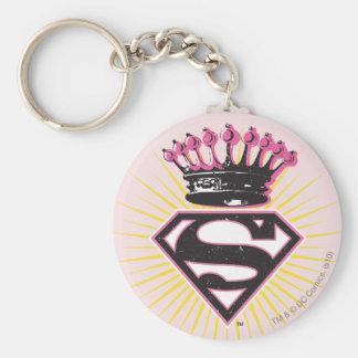 Logotipo de Supergirl con la corona Llavero Redondo Tipo Pin