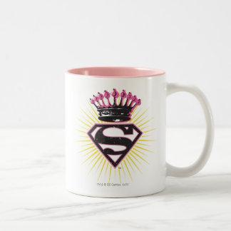 Logotipo de Supergirl con la corona Taza De Café De Dos Colores