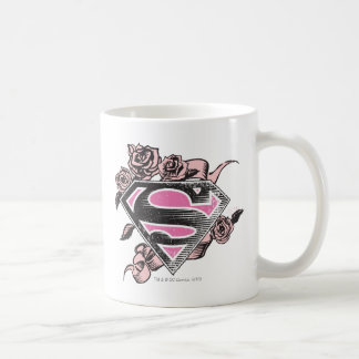 Logotipo de Supergirl con los rosas Taza Básica Blanca