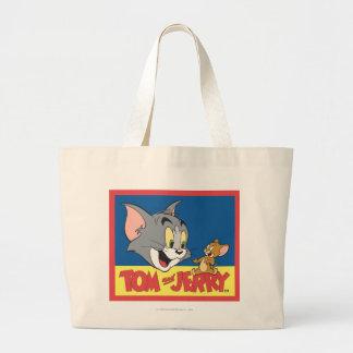 Logotipo de Tom y Jerry plano Bolsa Tela Grande