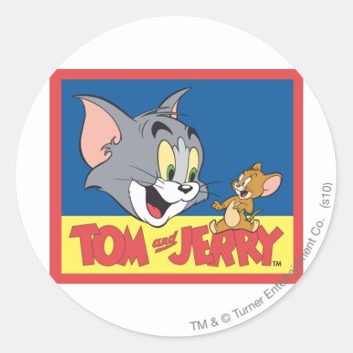 Logotipo de Tom y Jerry plano Pegatina Redonda