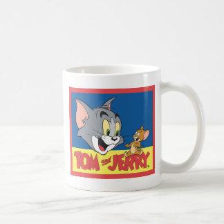 Logotipo de Tom y Jerry plano Taza Básica Blanca
