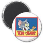 Logotipo de Tom y Jerry sombreado Imán Redondo 5 Cm
