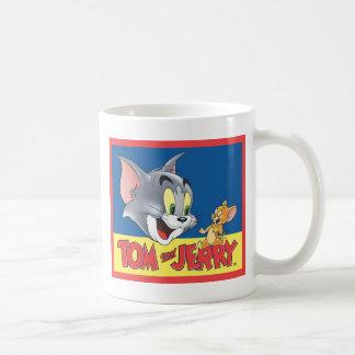 Logotipo de Tom y Jerry sombreado Taza Básica Blanca