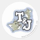 Logotipo de Tom y Jerry T&J Pegatina Redonda
