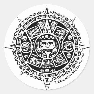 Logotipo de Tzolkin Sunstone Pegatina Redonda