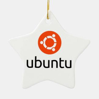 Logotipo de Ubuntu Linux Adorno Navideño De Cerámica En Forma De Estrella