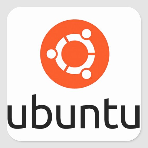 Logotipo de Ubuntu Linux Pegatina Cuadrada