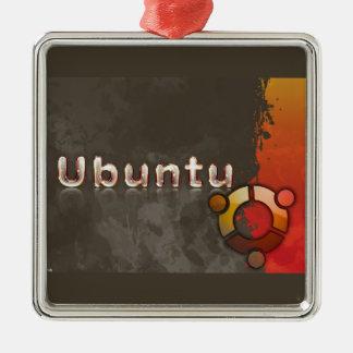 Logotipo de Ubuntu Linux y círculo de amigos Adorno Navideño Cuadrado De Metal