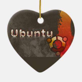 Logotipo de Ubuntu Linux y círculo de amigos Adorno Navideño De Cerámica En Forma De Corazón