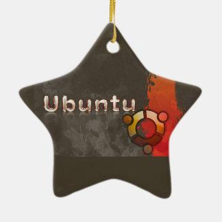 Logotipo de Ubuntu Linux y círculo de amigos Adorno Navideño De Cerámica En Forma De Estrella