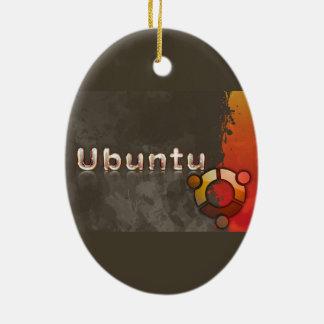Logotipo de Ubuntu Linux y círculo de amigos Adorno Navideño Ovalado De Cerámica
