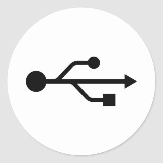 Logotipo de USB Etiquetas Redondas